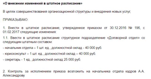 Образец приказа о внесении изменений в штатное расписание