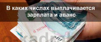 сроки выплаты аванса и зарплаты